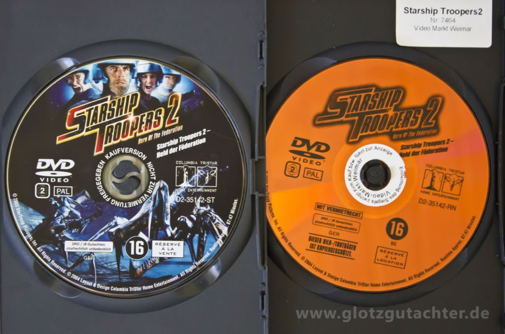 Starship Troopers 2 dvd Disc